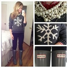 grey printed sweater with knee high rain boots