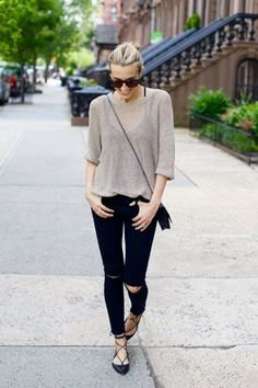 grey semi sheer sweater with black ripped jeans and strappy flats