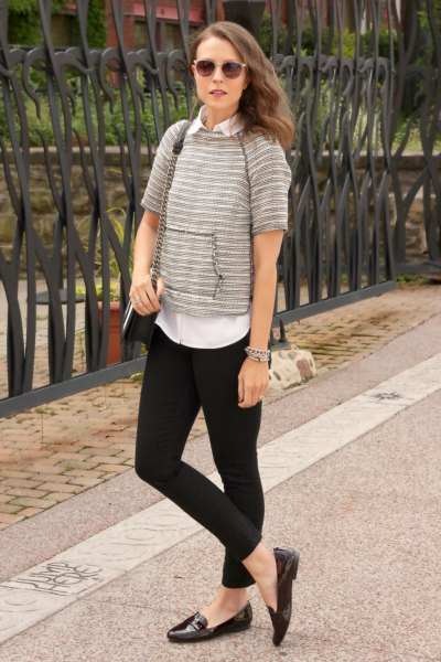 grey short sleeve sweater with white shirt and black slip on shoes