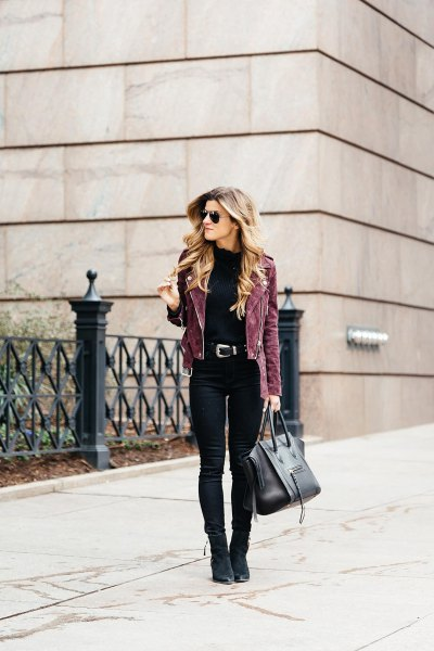 grey suede biker jacket with black skinny jeans and suede ankle boots