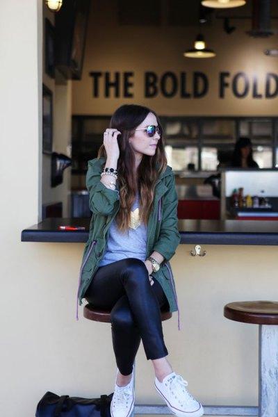 grey tunic tee and black leather leggings