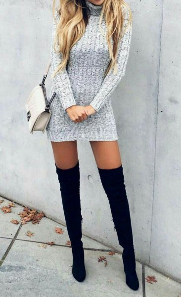 grey turtleneck long sleeeve form fitting mini sweater dress with thigh high black high heel boots