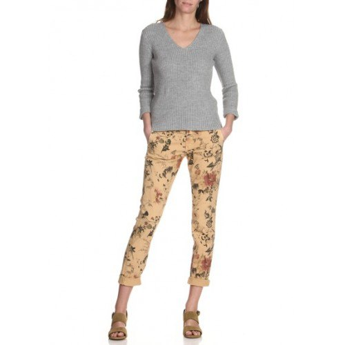 grey v neck sweater with blush pink floral printed slim fit chinos