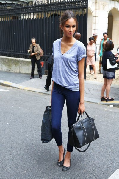 grey v neck t shirt with black and white leopard print ballet flats