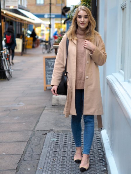 light camel longline coat with crepe mock neck sweater