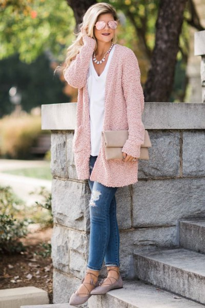 light gold relaxed fit cardigan with white v neck tee
