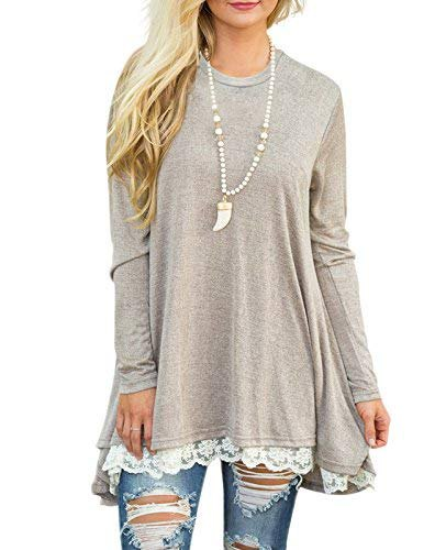 light grey lace scalloped hem long sleeve tunic tee with ripped skinny jeans