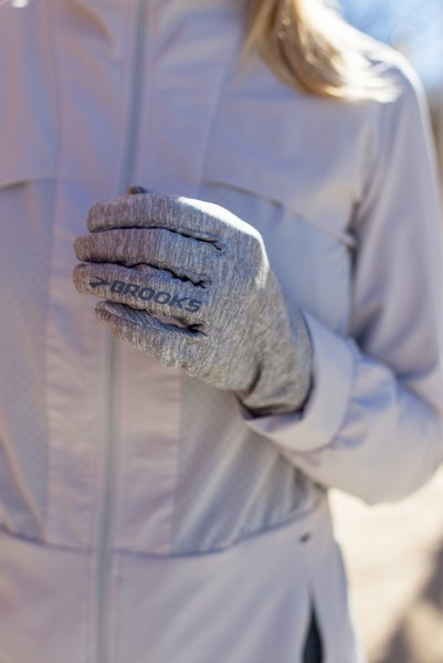 light grey nylon running jacket with matching gloves