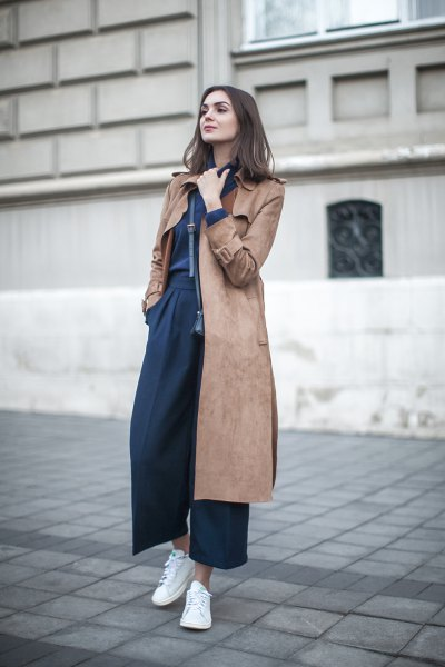 midi length greyish brown suede coat with navy blue wide leg pants