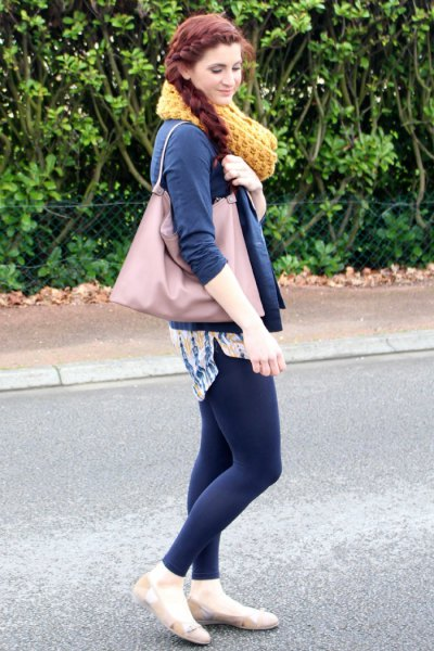 navy blue leather jacket with leggings and pale pink ballet flats
