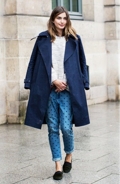 navy blue longline blazer with polka dot jeans