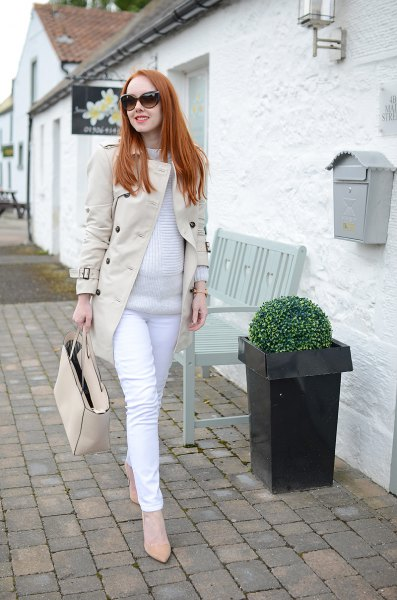 pale pink longline blazer jacket with white maternity jeans