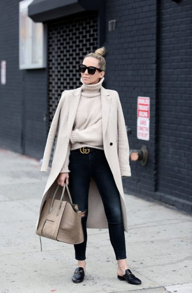 pale pink longline blazer with turtleneck sweater and black loafers