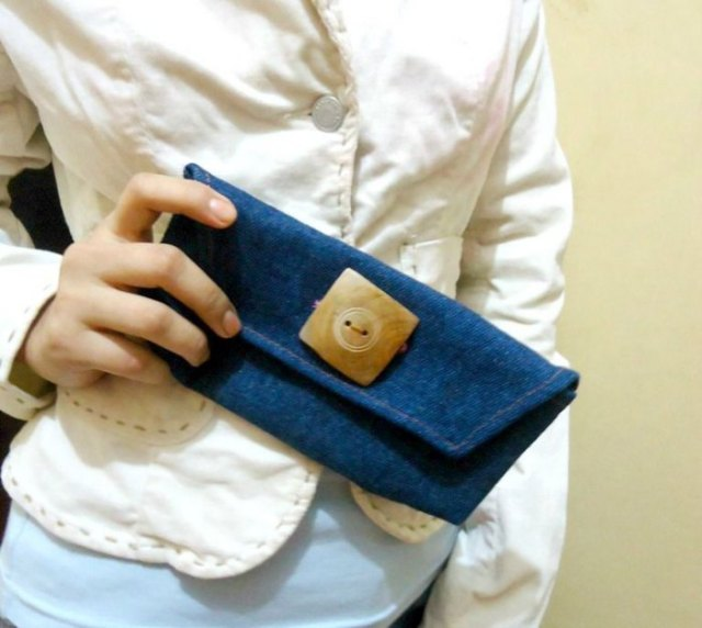 pale yellow button up linen blouse with blue denim mini cute purse
