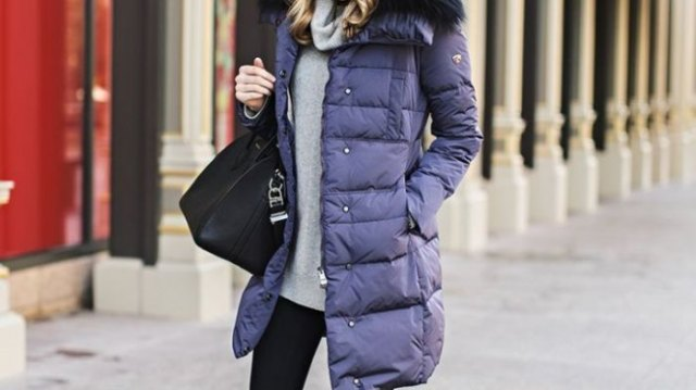 purple longline bubble jacket with grey cowl neck sweater