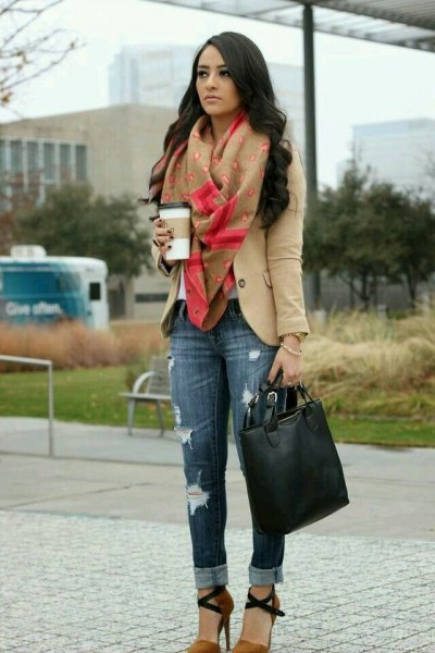 tan blazer with green blanket scarf and cuffed slim fit jeans