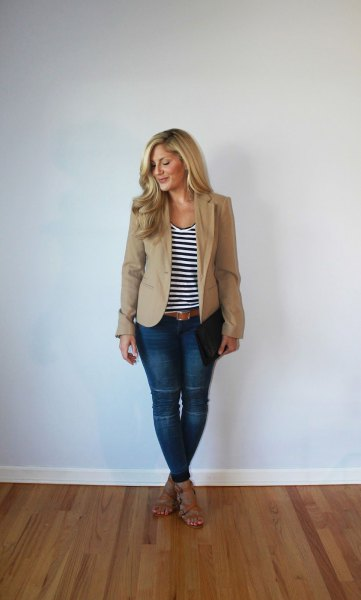 tan slightly oversized blazer with black and white striped scoop neck tank top