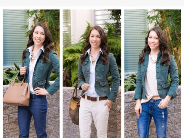 utility jacket with pale pink blouse and bright blue jeans