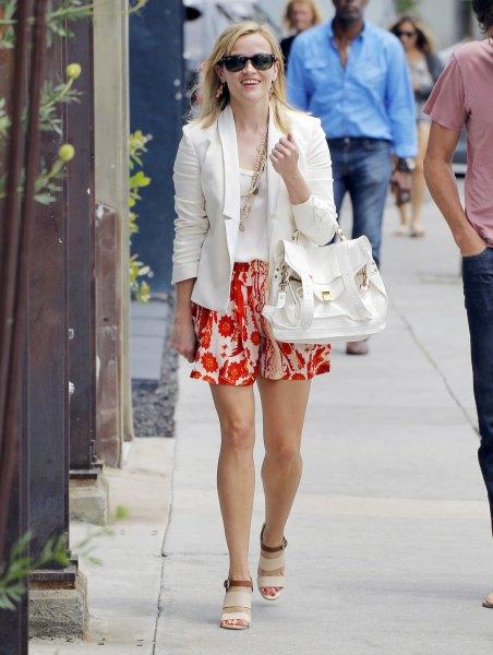 wear with orange and white mini flowy shorts