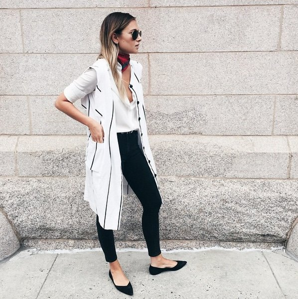 white and black longline striped vest with black ballet flats