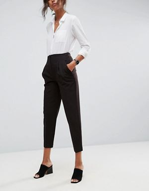 white button up shirt with black high rise cropped chinos