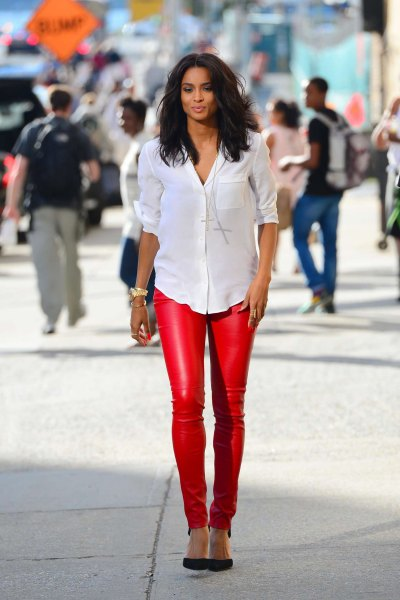 white button up shirt with red skinny leather pants