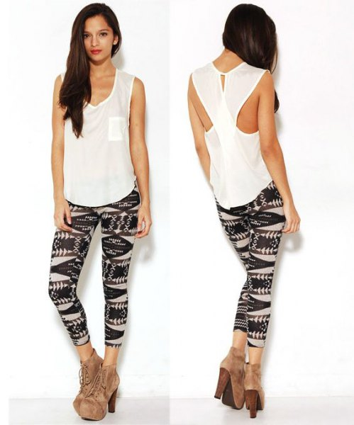 white cutout back tank top with black printed leggings