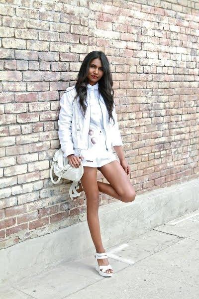 white jacket with blouse and mini shorts