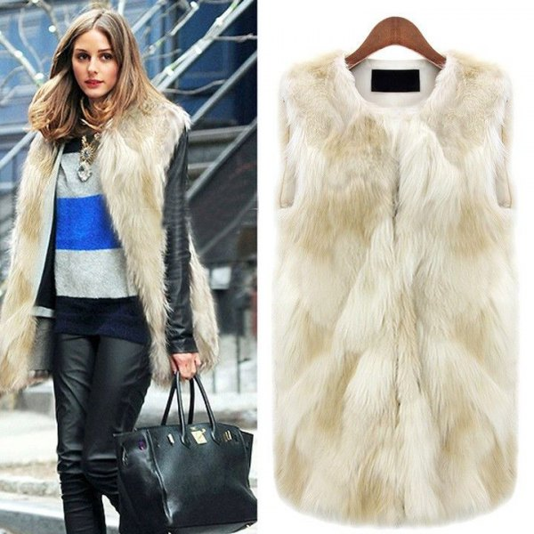 white long fur vest with blue and grey color block sweater