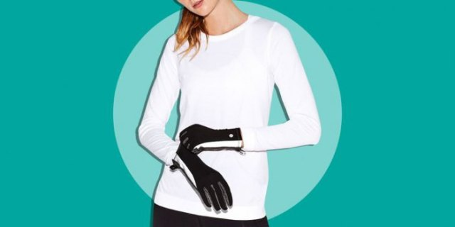 white long sleeve t shirt with black running gloves and dark jogging tights