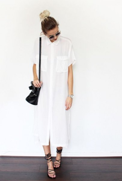 white maxi summer tunic blouse with black gladiator sandals