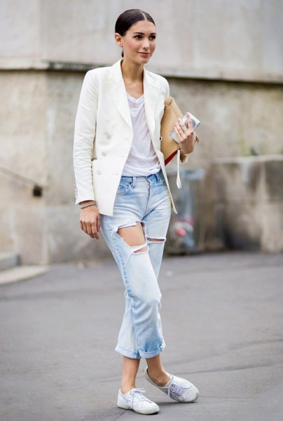 white oversized blazer with light blue cuffed boyfriend jeans