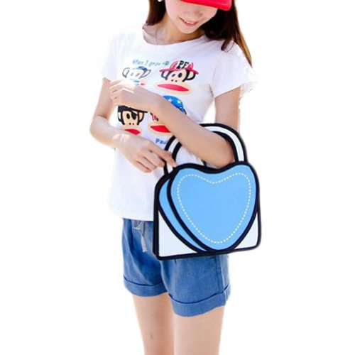 white print tee with heart shaped faux 2d cute purse