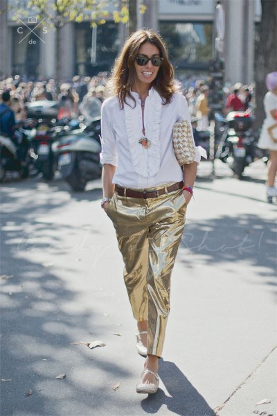white ruffle neckline blouse with gold metallic pants