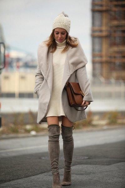 white turtleneck sweater dress with grey longline wool coat