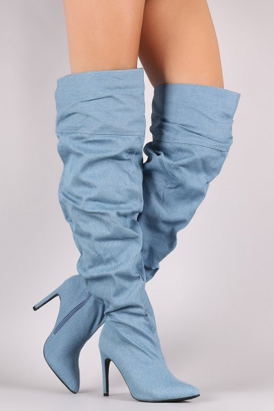 How To Style Denim Knee High Boots Top 12 Attractive