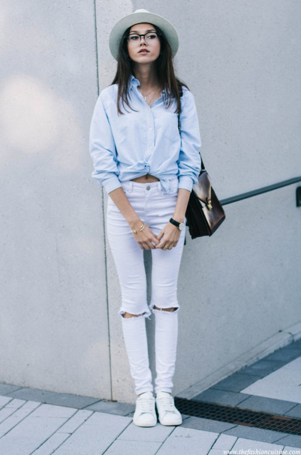 e0bc3372757 How to Wear White Ripped Jeans: Top 15 Cool & Refreshing Outfits for ...