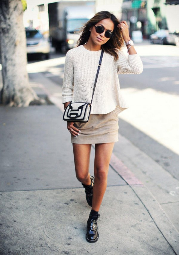 af0c3e6bbac Top 15 Suede Mini Skirt Outfit Ideas  Style Guide for Ladies - FMag.com