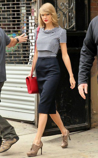 black and white checker slim fit short sleeve blouse with midi high waisted skirt