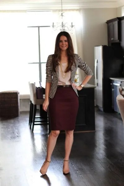 black and white striped blazer with maroon midi skirt