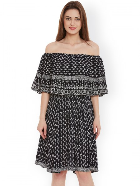 black and white tribal printed off the shoulder knee length dress