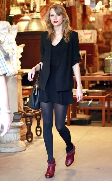black blazer with shift dress and burgundy leather mini boots