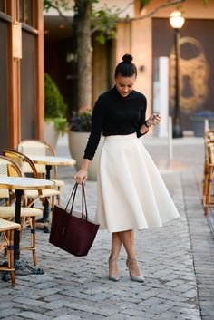 black button up shirt with white high waisted midi skirt