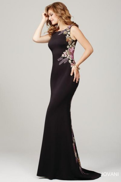 black floral printed mermaid occasion dress
