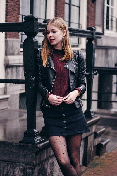 black leather biker jacket with mini denim skirt and polka dot tights