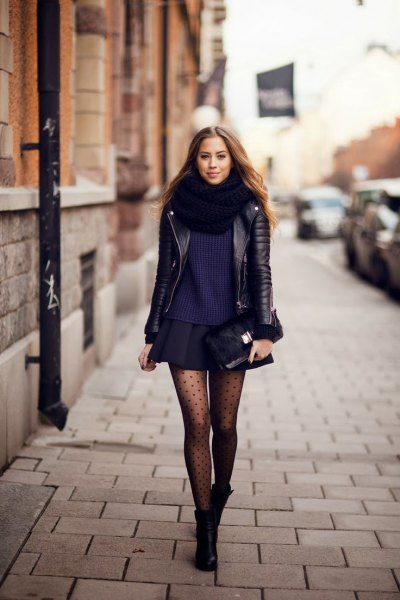 black leather jacket with mini skater skirt and polka dot tights