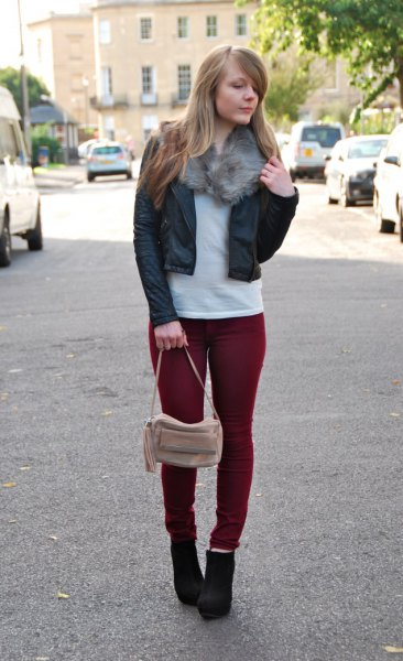 black short fitted leather bomber jacket with maroon slim fit jeans