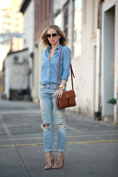 blue button up shirt with cuffed slim fit ripped jeans