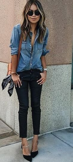blue denim button up shirt with black cropped skinny jeans