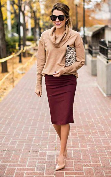 blush pink cowl neck sweater with maroon pencil skirt